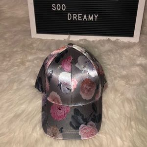 Accessories - NYC UNDERGROUND Gray/Silver Satin Floral Hat